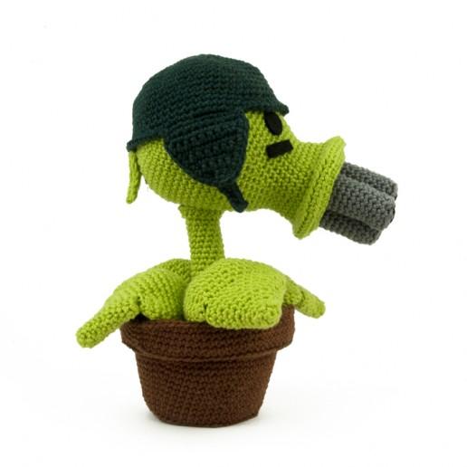 Hæklemønster Gatling Pea - Plants vs Zombies - Amigurumi